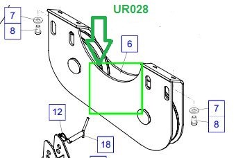 UR028 Отклоняющий шкив в сборе - фото 7958