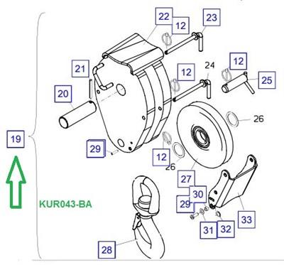 KUR043-BA Крюковая подвеска, в сборе - фото 8025